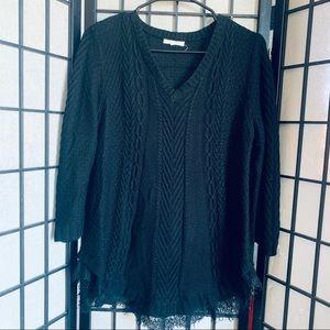 Margaux & Ellie black knit sweater lace hem L